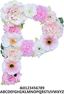 ZHENHAN Artificial Pink Floral Decorative Letter, Alphabet Letter with Fake Flowers for Special Occasion/Event, 7.9