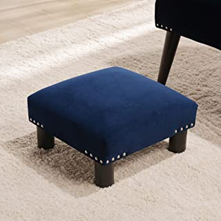 Jennifer Taylor Home Jules Contemporary Nailhead Trim Accent Footstool, Navy Blue