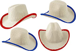 Mini Cowboy Rodeo Hats, 2 Inches Tall Size - 12 Pack (Red & Blue)