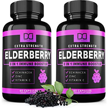 (120 Capsules) Elderberry Capsules Pills with Zinc, Vitamin C, Echinacea Extract Microban Formulated for Immune System Support - Infused Syrup Supplement for Kids, Adults, Toddlers - (2 Pack)