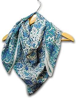 Handmade 100% Cotton Floral Block Print Scarf 42 Inch x 42 Inch Blue Green