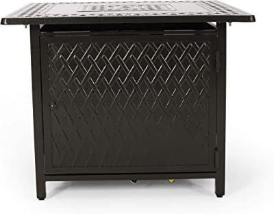 Christopher Knight Home 312968 Roger Outdoor Square Aluminum Fire Pit, Hammered Bronze