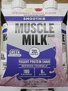 Muscle Milk Smoothie Yogurt Protein Shake, Strawberry Banana, 4 Little Cartons