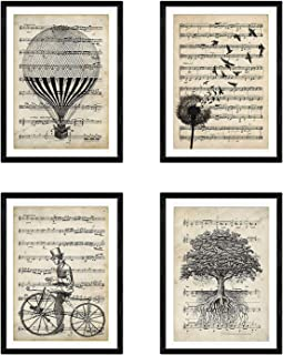 Nacnic Set of 4 Prints for framing, Balloons, Dandelion, Bicycle and Tree of Life. Music Style. Posters with Images of Music with Drawings, Size A4. Home Decor. Paper 250 Grams Colors.
