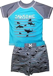 طقم سباحة سول للأولاد بأكمام قصيرة من قطعتين لباس سباحة Rashguard | ملابس سباحة للأطفال