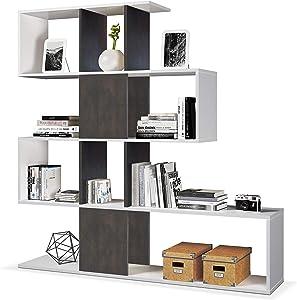 Habitdesign - Estantería librería Zig Zag, Medidas: 45x145x30 cm de Fondo (Blanco Artik y Oxido)