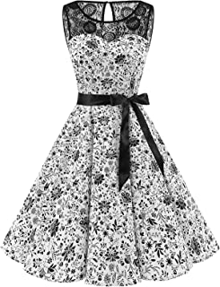 Bbonlinedress Donna 1950 Vintage Senza Maniche Rockabilly Cocktail Swing Dress