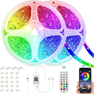 SUNOVO 20m LED-strips, RGB led-kamerverlichting met afstandsbediening, decoratieve led-lichtslinger voor slaapkamer, kanto...