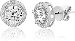 Devin Rose Sterling Silver Round Halo Stud Earrings for Women made With Swarovski Crystals (Crystal Various Imitation Birthstone)