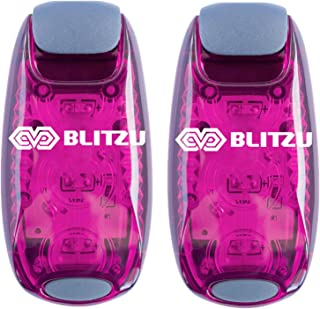 BLITZU LED Safety Light 2 Pack + Free Bonuses - Clip On Strobe Warning Flashing Running Lights for Runners, Kids, Bike, Boat, Dog Collar, Stroller. Accessories for Your Reflective Gear, Night time.