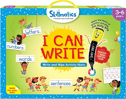 Skillmatics Educational Game: I Can Write (3-6 Years) | Erasable and Reusable Activity Mats with 2 Dry Erase Markers ...