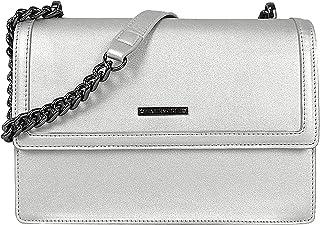EVERMORE Umhängetasche Damen Handtasche Silber Schultertasche Frauen Kettentasche Mittelgroß Arbeitstasche Magnetknopf Kla...