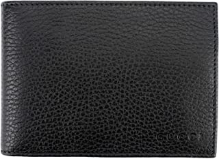 Pebbled Calfskin Leather Bifold with Coin Pocket Wallet, Nero (Black)
