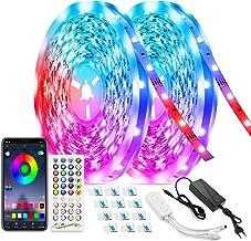 LED Bluetooth-tape, TASMOR 20M / 65,6ft RGB LED-strip, RGB-led met afstandsbediening, zelfklevend synchroniseren met muzie...