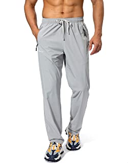 Pudolla Men's Workout Athletic Pants Elastic Waist Jogging Running Pants for Men with Zipper Pockets