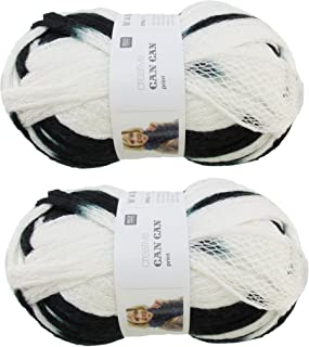 BambooMN Brand - 2 Skeins - Fishnet, Ruffle Fancy Scarf Yarn - 200g (60m), 100% Acrylic Yarn - Black White