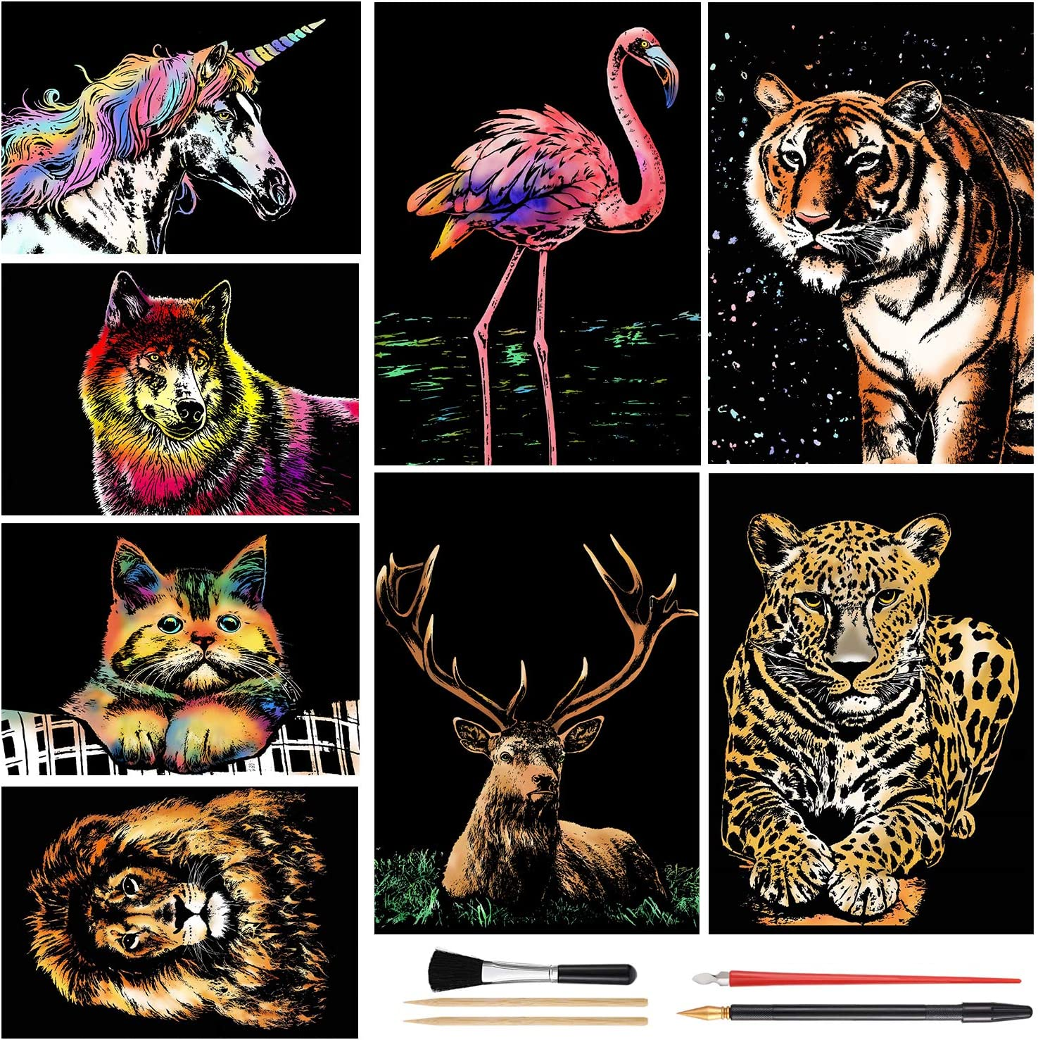 Scratch Art Rainbow Outlet SALE Painting Manufacturer regenerated product Paper Animal Womens DIY Crafts A4