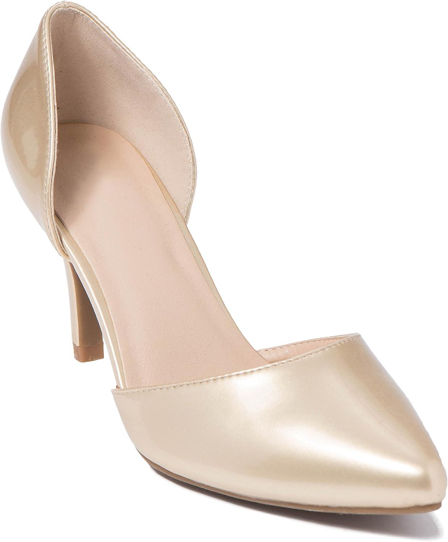 ShoBeautiful Women's D'Orsay Pump Slip on Low Stiletto Heel Party Dress shoes Summer Sandals TK09
