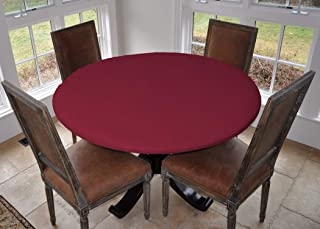 LAMINET Elastic Fitted Table Cover - Basketweave (RED) - Small Round - Fits Tables up to 44 Diameter