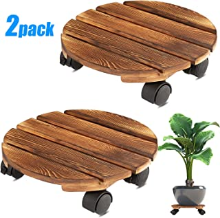 Yangbaga 2pack Plant Caddy 11''Wood Duty Round Plant Roller with 2 360° Lockable Caster Wheels,Indoor Outdoor on Roller Pa...