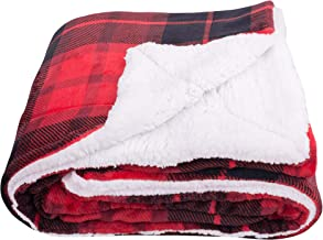 "SOCHOW Sherpa Plaid Fleece Throw Blanket, Fleece, Red, 60""×80"""