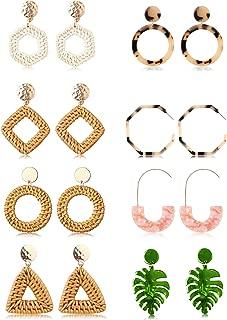 8 Pairs Handmade Rattan Dangle Earrings Lightweight Resin Acrylic Earrings for Women Tortoise Mottled Hoop Drop Bohemian Set Straw Wicker Braid Statement Earrings