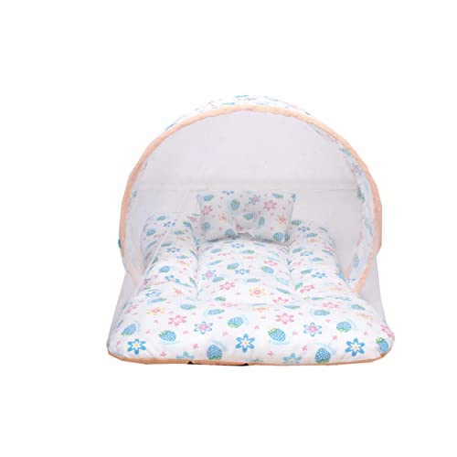 Baby Fly Baby's Mosquito Net Bed with Pillow (0-12 Months, Peach and White Colour)