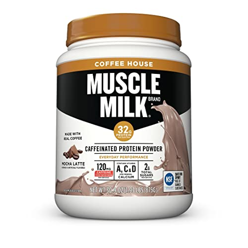 Muscle Milk Coffee House Caffeinated Protein Powder, Mocha Latte, 32g Protein, 1.93 Pound