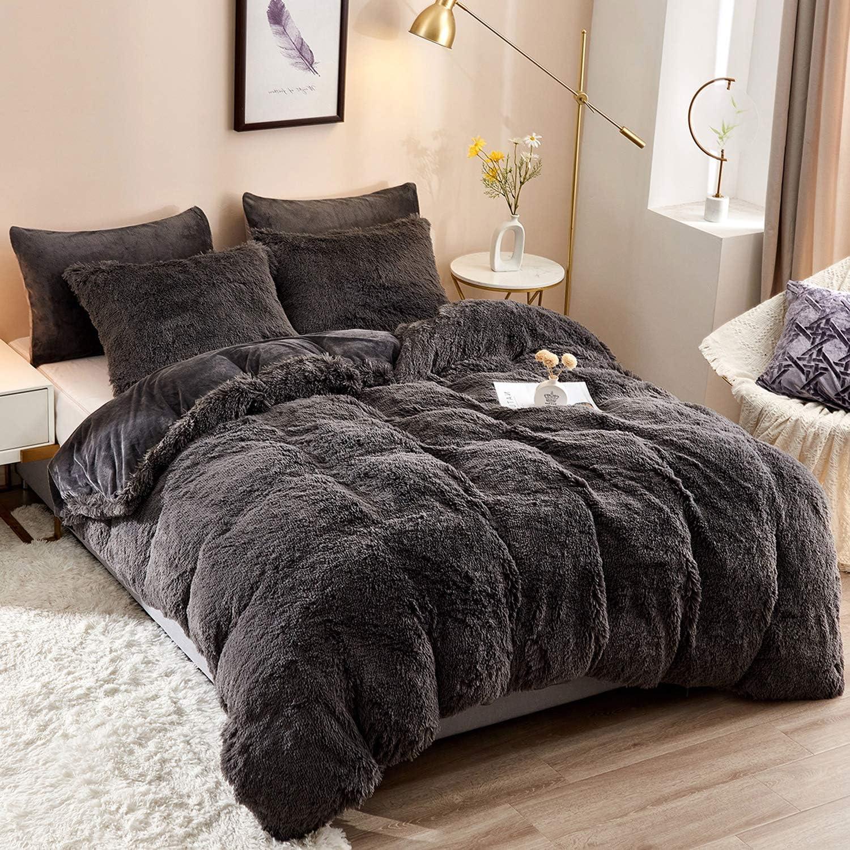 HAOK Plush Shaggy Duvet Cover Set Super intense SALE - Pieces 5 Bed Fur Fluffy Faux Virginia Beach Mall