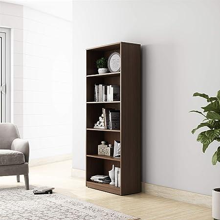 Amazon Brand - Solimo Pavo Engineered Wood Bookcase with 5 Shelves (Walnut)
