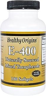 Healthy Origins. E-400. 100% Natural Mixed Tocopherols. 180 Softgels