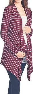 Beachcoco Women's Maternity Open-Front Stripe Rib-Cardigan Made in USA