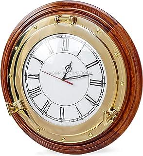 Premium Nautical Porthole Brass Time's Clock On Solid Wood Base | Wall Decor | Pirates Maritime Gift | Nagina Internationa...