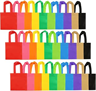 Aneco 30 Pack Party Bags Non-Woven Gift Bag Tote Bags with Handles Party Favor, 8 by 8 Inches, 10 Colors