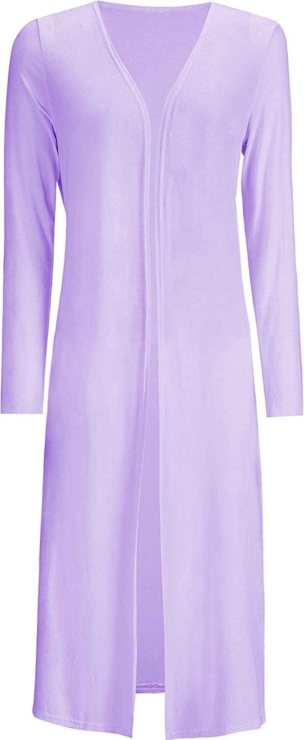 BlcSwan Women Solid Cotton Essential Long Cascading Open Front Cardigan