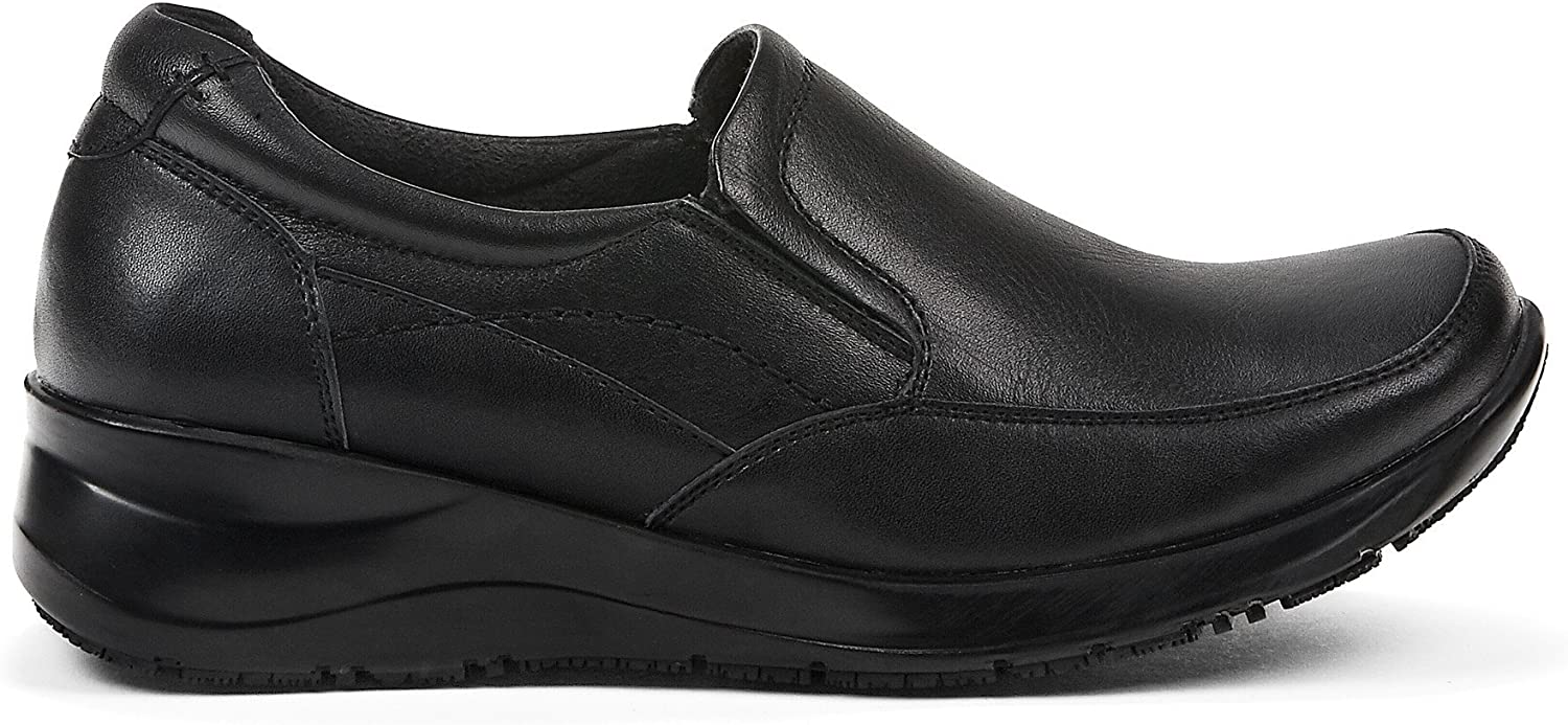 Contrast Womens 1.50  Heeled Loafer Work shoes - Casual & Comfortable - Made from Genuine Leather & Memory Foam - Perfect Professionnal & Uniform Non-Marking Rubber