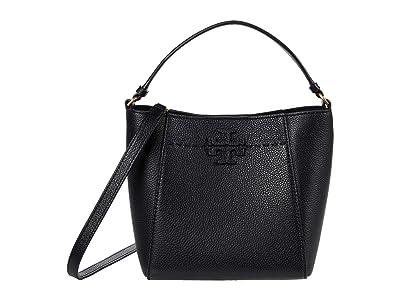 Tory Burch McGraw Small Bucket Bag (Black) Handbags