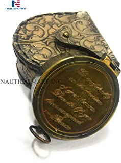 NAUTICALMART Thoreau's Go Confidently Quote Engraved Pocket Compass with Leather case, Camping Compass, Gift Compass, Boating Compass, Graduation Day Gifts