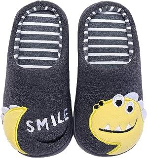Coralup - Zapatillas infantiles para estar en casa, diseño de dinosaurios, algodón de felpa y espuma viscoelástica, 4 colo...