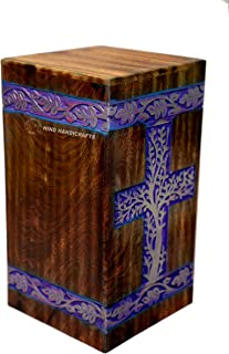 Hind Handicrafts Urns for Human Ashes Adult, Rosewood Cremation Urns for Ashes, Burial Urns for Columbarium, Wooden Box Funeral Urns for Human Ashes Large - 250 Cu/in (Golden on Purple)