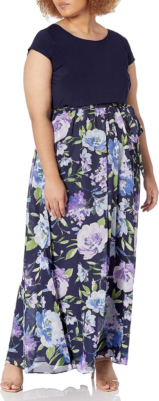 S.L. Fashions Women's Plus Size Floral Maxi Dress