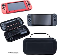 Nintendo Switch Gaming Accessories Bundle Kit - Includes Nintendo Switch Hard EVA Carrying Case, Silicon Covers for Console & Joy-Con, and Tempered Glass Nintendo Switch Screen Protector (Red Case)