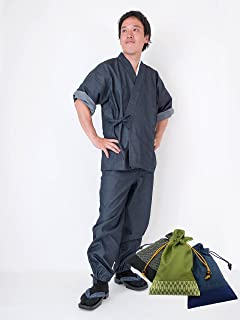 【日本製】 デニムロールアップ作務衣 【IKISUGATA】 和粋庵特製巾着付き