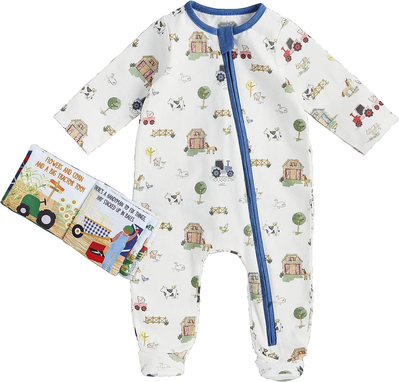 Mud Pie Baby Boys' Farmhouse Sleeper & Plush Book Set, 3-6 Months, Multi