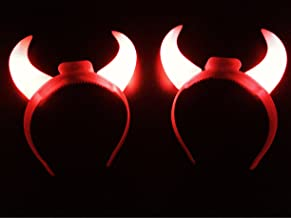 GIFTEXPRESS 2-Pack Red Flashing Light Up LED Devil Horns Headband Halloween Costume Head Boppers (2-Pack)