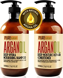 Moroccan Argan Oil Shampoo and Conditioner SLS Sulfate Free Gift Set - Best for Damaged, Dry, Curly or Frizzy Hair - Thick...