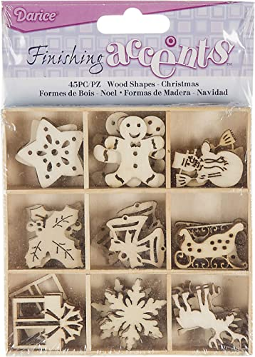 Finishing Accents Darice Mini Laser Cut Wood Shapes: Christmas Theme, 45 Pieces, Multicolor Count