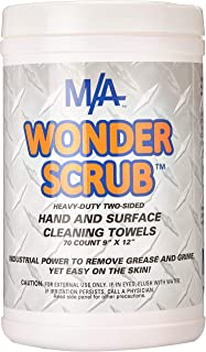 Wonder Scrub Hand & Surface Cleaning Towels 70 ct tub. Industrial Strength, Heavy Duty for Grease, Grime, Oil.