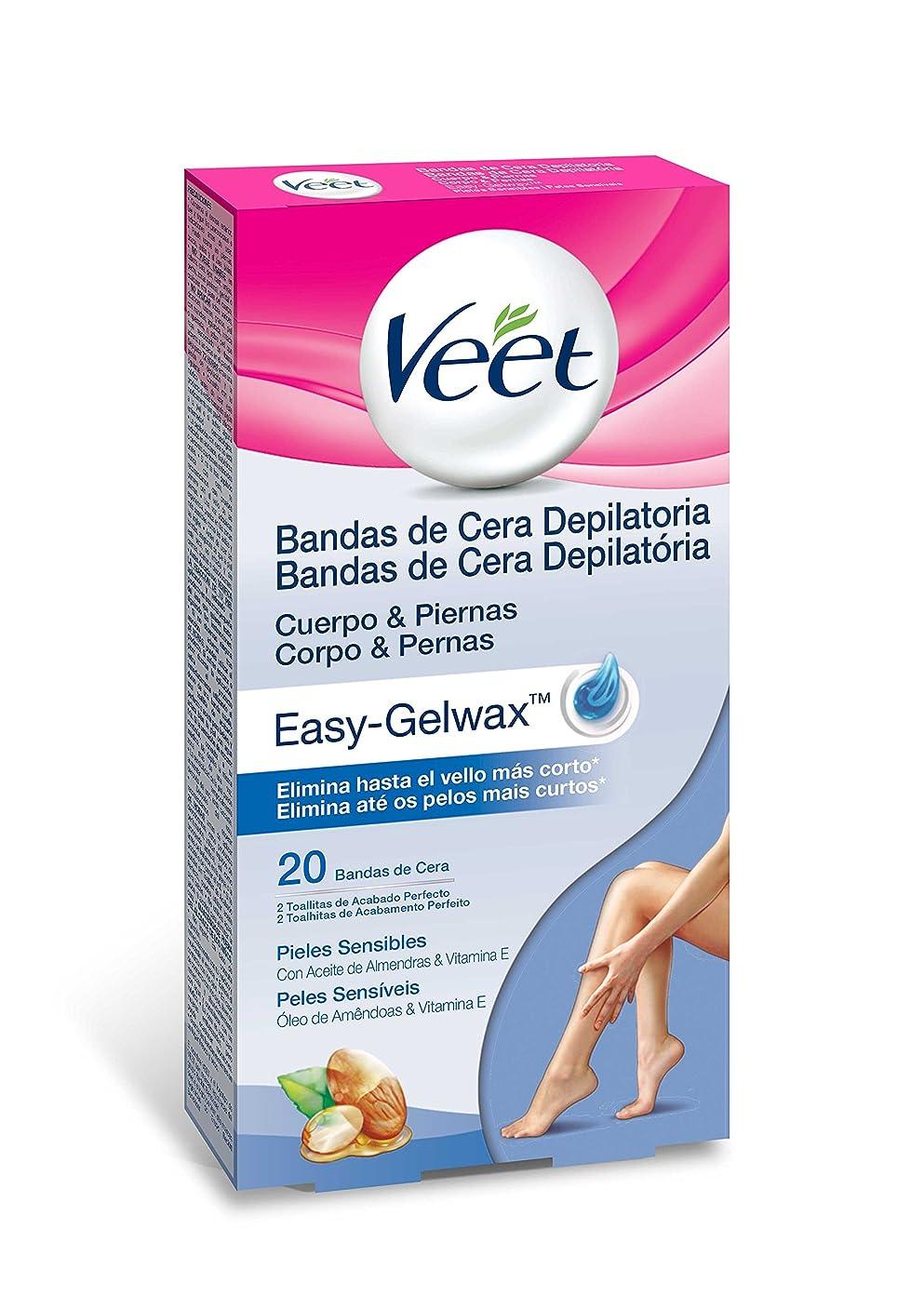 排除冊子操作Veet Easy GelWaxボディバンド脱毛ワックススキンセンシティブx 20