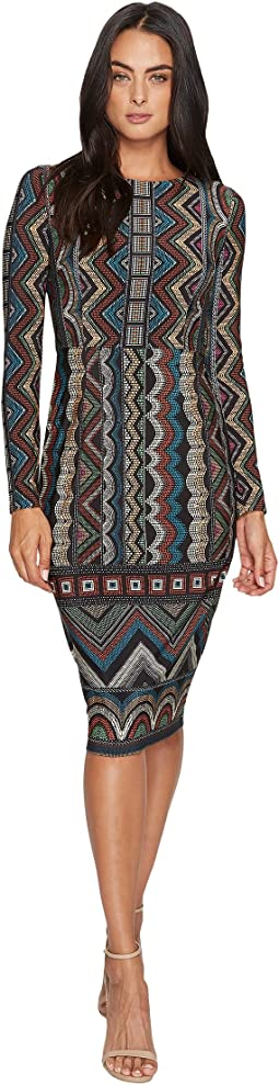 Maggy London - Printed Jersey Sheath with Long Sleeve and Border